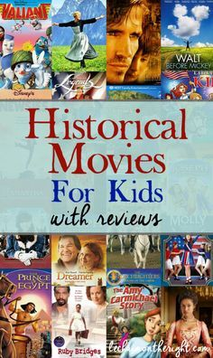 Historical Movies for Kids - great idea for hands on history; a list of history movies for homeschool, elementary school, or middle school. History For Kids, Study History, Teaching Social Studies, Teaching History, Teaching American History, Kid Movies, Family Movies, Movies For Kids, Comedy Movies