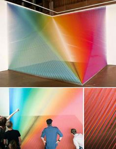 It looks like an optical illusion – a rainbow created by light and water, perhaps. But Plexus 5 is actually an installation of colored strings, attached to the walls and floor of the Pump Project Art Complex in Austin, Texas by artist Gabriel Dawe