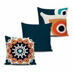 KIT com 3 Almofadas Decorativas Mandala 45x45cm- ALMAND001 - Pano e Arte