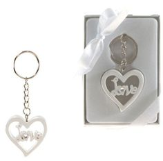 """Heart with """"""""Love"""""""" Phrase Key Chain - White Case Pack 48"""