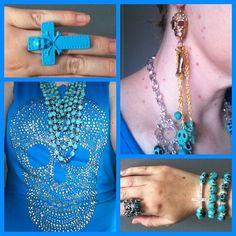 Blue skulls top from Ice designs, Jewel Divas jewellery