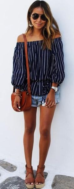 stripe off shoulders top. denim shorts. summer style.