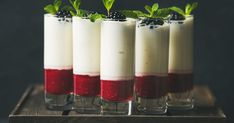 Buy Dessert in glass with blackberries and mint, copy space by sonyakamoz on PhotoDune. Dessert in glass with blackberries and mint on wooden tray over dark backgroun. Bar Set Up, Food Concept, Nontraditional Wedding, Wedding Breakfast, Wedding Catering, Fine Dining, Gourmet Recipes, Blackberry, Tray