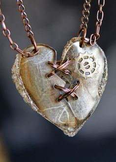Ex Marks The Heart Laser Cut Statement Necklace Mended Heart Distressed Rocker SteamPunk Heart with Gear Heart Necklace by Diy Jewelry, Jewelry Accessories, Handmade Jewelry, Jewelry Design, Jewelry Making, Heart Jewelry, Jewlery, Heart Necklaces, Punk Jewelry