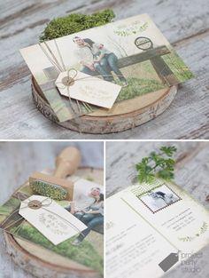 Invitación postal fotos novios + sello. Modelo Love Mail #wedding #invitation #stationery