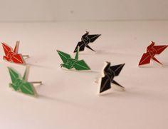 Green Origami Crane Stud Earrings. $28.00, via Etsy.