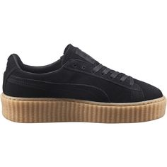 Puma x Rihanna Suede Creepers - Black/Oatmeal ($120) ❤ liked on Polyvore featuring shoes, sneakers, black platform shoes, platform lace up shoes, kohl shoes, round toe shoes and creeper shoes