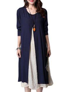 Gracila Vintage Long Sleeve Fake Two Pieces Cotton Literary Dress