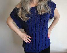 Blusinha de Verão Azul Short Sleeve Dresses, Dresses With Sleeves, Ideias Fashion, Peplum, Knitting, Tops, Women, Knit Jacket, Summer Sweaters