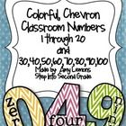 Colorful Chevron Classroom Numbers 1 through 20 and 100 Circus Classroom, Chevron Classroom, Owl Theme Classroom, Classroom Signs, 2nd Grade Classroom, First Grade Math, Grade 2, Second Grade, Classroom Ideas