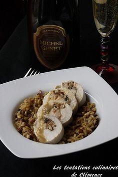 Roulés de poulet au foie gras et champignons sur risotto des bois, avec le Champagne Michel Genet blanc de blancs, millésime 2005.
