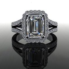 Forever Brilliant Moissanite and Diamond Emerald Cut Engagement Ring