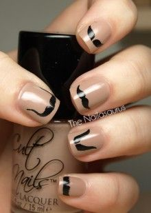 I mustache you a question - cute if you moved them all down to the tips for a french manicure look!