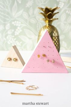 If your teacher loves a good statement earring, they'll appreciate this DIY gift. These stud earring holders with a wooden finish are great for easy organizing. Easily made in a variety of colors, this craft will stand out and serve as a handy jewelry organizer they can use every day. #marthastewart #diydecor #diyprojects #diyideas #handmadegiftideas