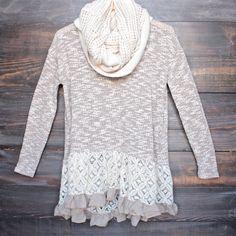 cut and sew lightweight sweater tunic with ruffle hem - shophearts - 1