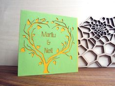 Laser Cut Wedding Invitation  heart tree with by AsymmetreeDesign, €5.00