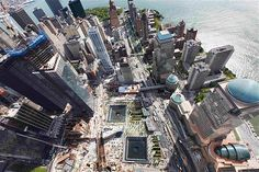 View from 100th floor observation deck in One World Trade Centre in New York