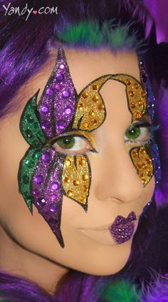 Mardi Gras Glitter Face Stickers. Done in make up for next Mardi Gras.