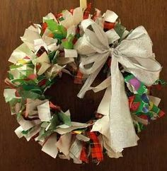 Recycled Christmas Paper Wreath
