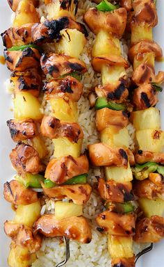 Citrus Honey Soy Chicken Kabobs - The chicken marinade is so easy and yummy. Served with healthy veggies like green peppers, onions, and pineapple on kabobs.
