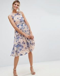 ASOS PREMIUM Midi Dress With Ruched Panel Detail in Pretty Floral Print