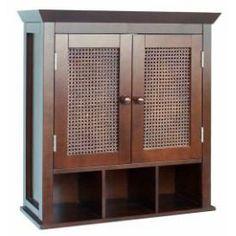 Espresso Hand Woven Cane Panel 2 Door Wall Hanging Bathroom Cabinet
