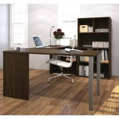 Whether you work from home or just need a space to sit down at the computer, the Bestar U-Shaped Workstation Desk with Hutch makes your home. U Shaped Office Desk, Desk Office, Work Station Desk, Desk Hutch, Office Suite, Home Desk, Smart Furniture, Modern Desk, 1 Piece