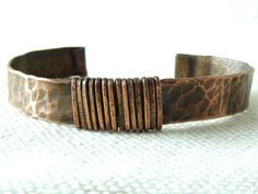 Hammered Copper Cuff Bracelet with Wire Wrapped by Studio70Seven, $22.00