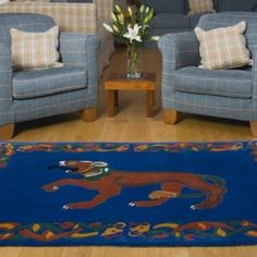"Hound design Wool Area Rug ""Loyalty"" designed in Ireland by Higgins & Co."