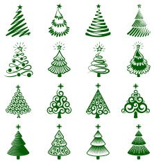 Christmas Trees royalty free vector icon set vector art illustration