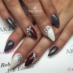 Almond gel nails, glitters, red and icy grey