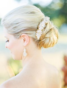 Wedding Hair Ideas: Updo with ornate bun wrap.