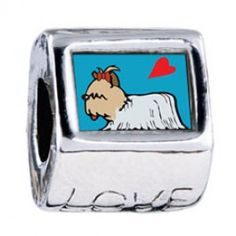 Yorkshire Terrier Dog White Love European Charms  Fit pandora,trollbeads,chamilia,biagi and any customized bracelet/necklaces. #Jewelry #Fashion #Silver# handcraft #DIY #Accessory