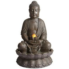 "Meditating Buddha 33 1/2"" High Water Fountain"