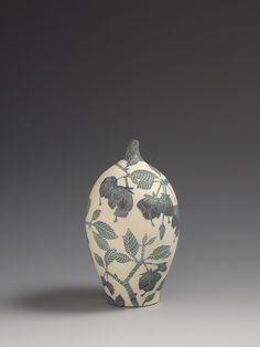 Strawberry Snowball tree from Madagascar Sgraffito vessel