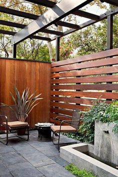 Most Inspiring Redwood Fence Designs Ideas to Style Up Your Yard los angeles horizontal privacy fence patio midcentury with modern outdoor lounge sets living Patio Fence, Outdoor Privacy, Backyard Privacy, Backyard Fences, Garden Fencing, Backyard Landscaping, Outdoor Lounge, Outdoor Living, Landscaping Ideas