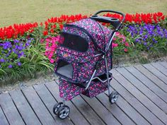 Fashion Flower 3 Wheels Pet Dog Cat Stroller Carrier w/RainCover in Strollers Cat Stroller, Dog Closet, Bunny Care, Dog Clothes Patterns, 3rd Wheel, Shih Tzu Puppy, Pet Travel, Dog Sweaters, Flower Fashion