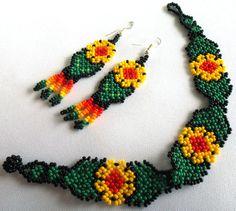 Huichol Beaded Flower Bracelet and Earrings set