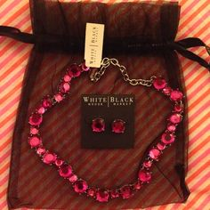 White House Black Market Very Berry Jewelry Set Set of necklace and earrings from White House Black Market. Color is called Very Berry. New with tags. White House Black Market Jewelry Necklaces