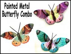 "3 Butterflies - Painted Metal Wall Art - Butterfly Combo, Metal Wall Decor- 13"" Garden Art - Recycled Steel Drums Metal Art - 516-Combo by TropicAccents on Etsy"
