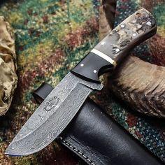 ALONZO KNIVES USA CUSTOM HANDMADE DAMASCUS TACTICAL HUNTING KNIFE RAM HORN 285 #AlonzoKnives
