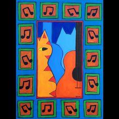 A painting for the #catsandguitars exhibit in Phoenix AZ. #cats #guitars #catart #artcat #painting #catsofinstagram #bztatart