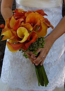 Love these colors too--I've always liked orange against red. Will probably wind up with some combination of calla lilies and Gerber daisies. Probably a red-orange lily in my hair, depending on the dress and the jewelry. Calla Lillies Bouquet, Calla Lily Bridal Bouquet, Calla Lily Wedding, Orange Wedding Flowers, Bridesmaid Bouquet, Wedding Bouquets, Boquet, Wedding Colors, Bridesmaids