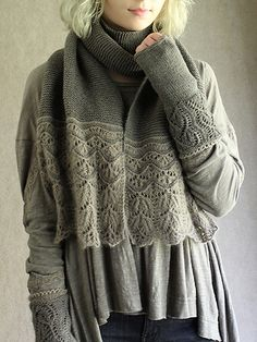 Ethereal leafy lace makes a heavenly border for this simple garter stitch scarf. Knit it in any number of widths from narrow scarf to wide wrap. Wear it alone or with coordinating mitts.