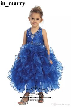Royal Blue Crystals Cupcake Pageant Dresses Girls 2017 Ball Gown Halter  Ruffles Organza Skirt Toddlers First Communion Party Gowns For Kids Little  Girl ... 554c046c60cd