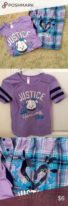 Justice Pajamas Justice Purple plaid Capri pajama pants and a cute purple pajama jersey style top with the Justice dog on it. It says Late Homework Club. Justice Pajamas Pajama Sets
