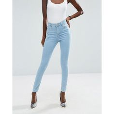 ASOS Ridley High Waist Skinny Jeans in Freya Light Stonewash Blue (58 CAD) ❤ liked on Polyvore featuring jeans, skinny jeans, high rise skinny jeans, stretch jeans, high-waisted jeans and blue jeans