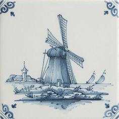 Dutch Delft Blue Tile, Windmill, Hand decorated - Made in Holland