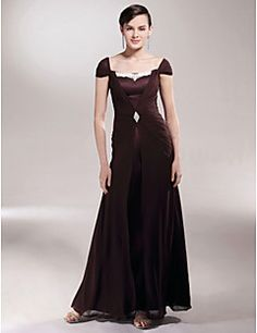 Sheath   Column Off Shoulder Floor Length Chiffon Satin Mother of the Bride  Dress with Appliques Crystal Brooch Side Draping by LAN TING 8629a02b0b2d