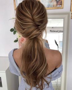 41 Office Ready Updos for Twisted low ponytail by Mila Evdokimova Low Ponytail Hairstyles, Wedding Hairstyles, Trendy Hairstyles, Ponytail Updo, Bridesmaid Hair Ponytail, Hair Updo, Low Ponytails, Twisted Ponytail, Fashion Hairstyles